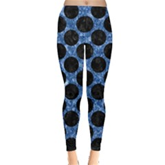 Circles2 Black Marble & Blue Marble Leggings  by trendistuff