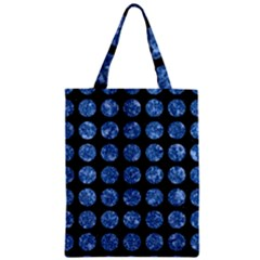 Circles1 Black Marble & Blue Marble (r) Zipper Classic Tote Bag by trendistuff
