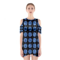 Circles1 Black Marble & Blue Marble (r) Shoulder Cutout One Piece