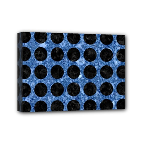 Circles1 Black Marble & Blue Marble Mini Canvas 7  X 5  (stretched) by trendistuff