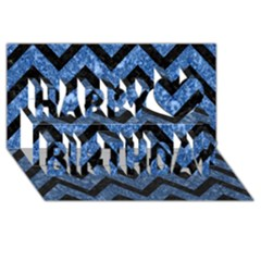 Chevron9 Black Marble & Blue Marble (r) Happy Birthday 3d Greeting Card (8x4) by trendistuff