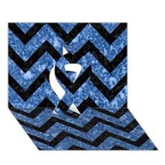 Chevron9 Black Marble & Blue Marble (r) Ribbon 3d Greeting Card (7x5) by trendistuff