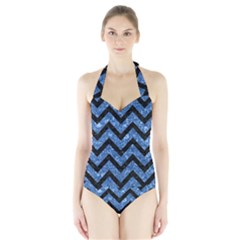 Chevron9 Black Marble & Blue Marble (r) Halter Swimsuit by trendistuff