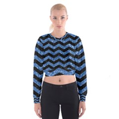 Chevron3 Black Marble & Blue Marble Cropped Sweatshirt