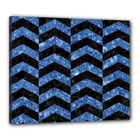 Chevron2 Black Marble & Blue Marble Canvas 24  X 20  (stretched) by trendistuff