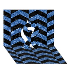 Chevron2 Black Marble & Blue Marble Ribbon 3d Greeting Card (7x5) by trendistuff