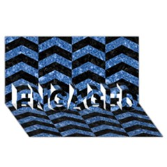 Chevron2 Black Marble & Blue Marble Engaged 3d Greeting Card (8x4)