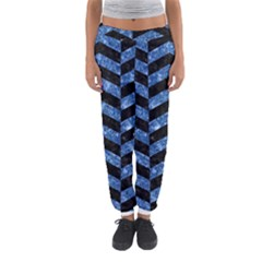 Chevron2 Black Marble & Blue Marble Women s Jogger Sweatpants