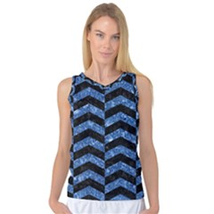 Chevron2 Black Marble & Blue Marble Women s Basketball Tank Top