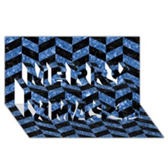 Chevron1 Black Marble & Blue Marble Merry Xmas 3d Greeting Card (8x4)