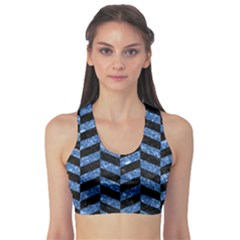 Chevron1 Black Marble & Blue Marble Sports Bra by trendistuff
