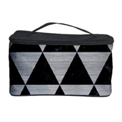 Triangle3 Black Marble & Silver Brushed Metal Cosmetic Storage Case by trendistuff