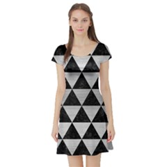 Triangle3 Black Marble & Silver Brushed Metal Short Sleeve Skater Dress by trendistuff