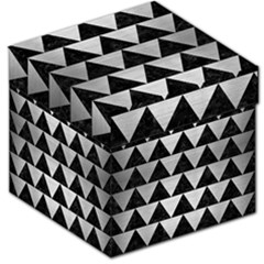 Triangle2 Black Marble & Silver Brushed Metal Storage Stool 12  by trendistuff