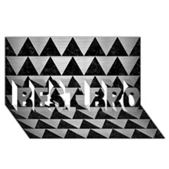 Triangle2 Black Marble & Silver Brushed Metal Best Bro 3d Greeting Card (8x4) by trendistuff