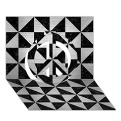 Triangle1 Black Marble & Silver Brushed Metal Peace Sign 3d Greeting Card (7x5) by trendistuff