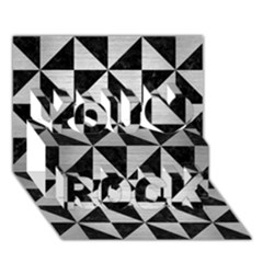 Triangle1 Black Marble & Silver Brushed Metal You Rock 3d Greeting Card (7x5) by trendistuff
