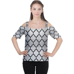 Tile1 Black Marble & Silver Brushed Metal (r) Cutout Shoulder Tee by trendistuff