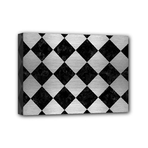 Square2 Black Marble & Silver Brushed Metal Mini Canvas 7  X 5  (stretched) by trendistuff