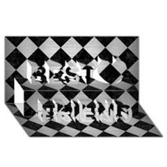 Square2 Black Marble & Silver Brushed Metal Best Friends 3d Greeting Card (8x4) by trendistuff