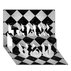 Square2 Black Marble & Silver Brushed Metal Thank You 3d Greeting Card (7x5) by trendistuff