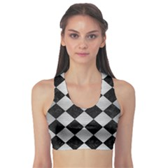 Square2 Black Marble & Silver Brushed Metal Sports Bra by trendistuff