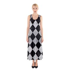Square2 Black Marble & Silver Brushed Metal Sleeveless Maxi Dress by trendistuff