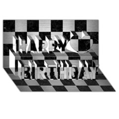 Square1 Black Marble & Silver Brushed Metal Happy Birthday 3d Greeting Card (8x4) by trendistuff