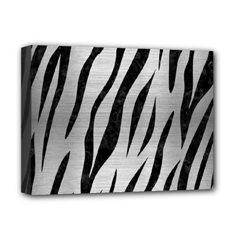 Skin3 Black Marble & Silver Brushed Metal (r) Deluxe Canvas 16  X 12  (stretched)  by trendistuff