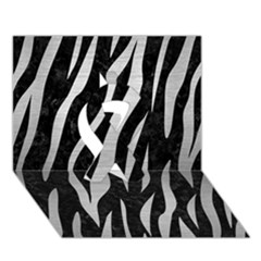 Skin3 Black Marble & Silver Brushed Metal Ribbon 3d Greeting Card (7x5)