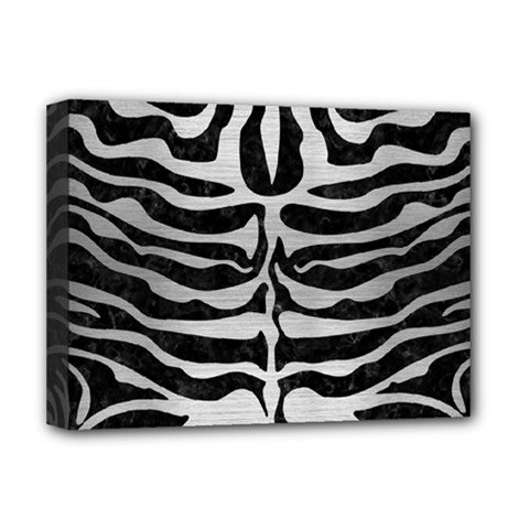 Skin2 Black Marble & Silver Brushed Metal Deluxe Canvas 16  X 12  (stretched)  by trendistuff