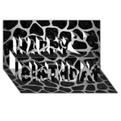 Skin1 Black Marble & Silver Brushed Metal (r) Happy Birthday 3d Greeting Card (8x4) by trendistuff