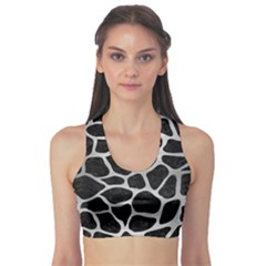 Skin1 Black Marble & Silver Brushed Metal (r) Sports Bra by trendistuff