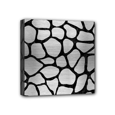 Skin1 Black Marble & Silver Brushed Metal Mini Canvas 4  X 4  (stretched) by trendistuff