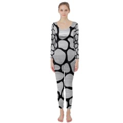 Skin1 Black Marble & Silver Brushed Metal Long Sleeve Catsuit by trendistuff