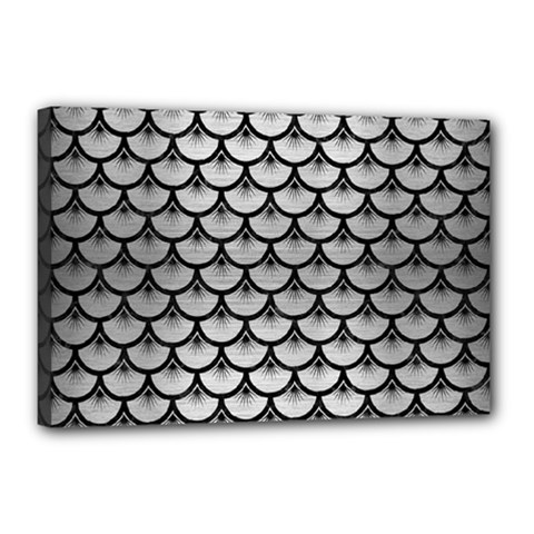 Scales3 Black Marble & Silver Brushed Metal (r) Canvas 18  X 12  (stretched) by trendistuff