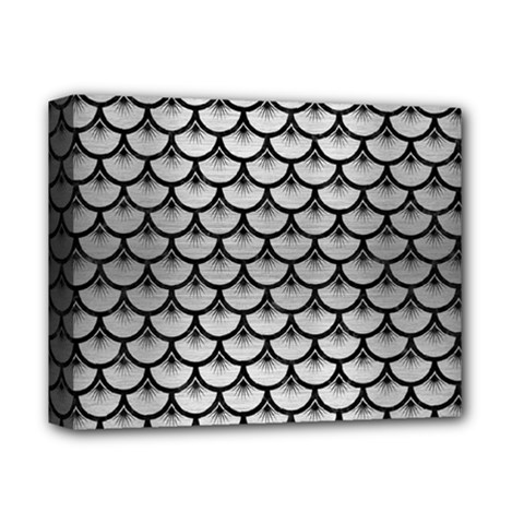 Scales3 Black Marble & Silver Brushed Metal (r) Deluxe Canvas 14  X 11  (stretched) by trendistuff