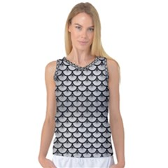 Scales3 Black Marble & Silver Brushed Metal (r) Women s Basketball Tank Top by trendistuff