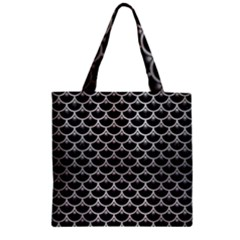Scales3 Black Marble & Silver Brushed Metal Zipper Grocery Tote Bag