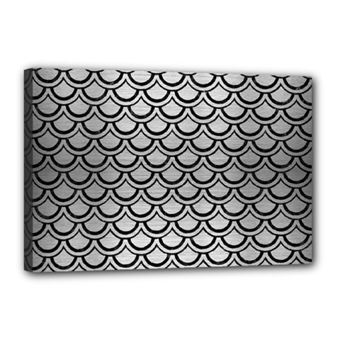 Scales2 Black Marble & Silver Brushed Metal (r) Canvas 18  X 12  (stretched) by trendistuff