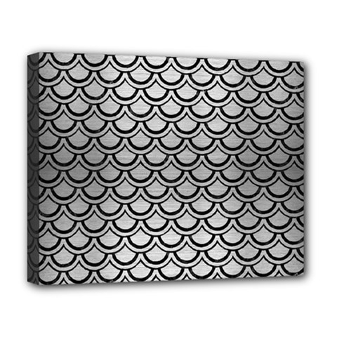 Scales2 Black Marble & Silver Brushed Metal (r) Deluxe Canvas 20  X 16  (stretched) by trendistuff