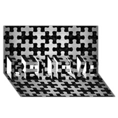 Puzzle1 Black Marble & Silver Brushed Metal Believe 3d Greeting Card (8x4) by trendistuff