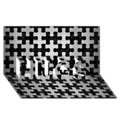 Puzzle1 Black Marble & Silver Brushed Metal Hugs 3d Greeting Card (8x4)