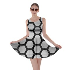 Hexagon2 Black Marble & Silver Brushed Metal (r) Skater Dress by trendistuff