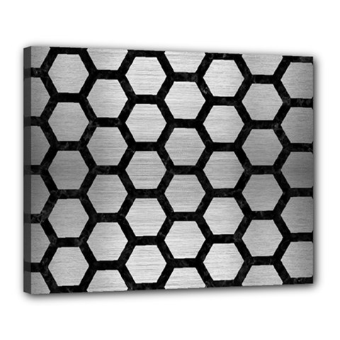 Hexagon2 Black Marble & Silver Brushed Metal Canvas 20  X 16  (stretched) by trendistuff