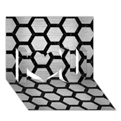 Hexagon2 Black Marble & Silver Brushed Metal I Love You 3d Greeting Card (7x5) by trendistuff