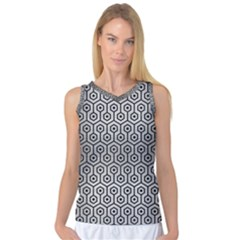 Hexagon1 Black Marble & Silver Brushed Metal (r) Women s Basketball Tank Top