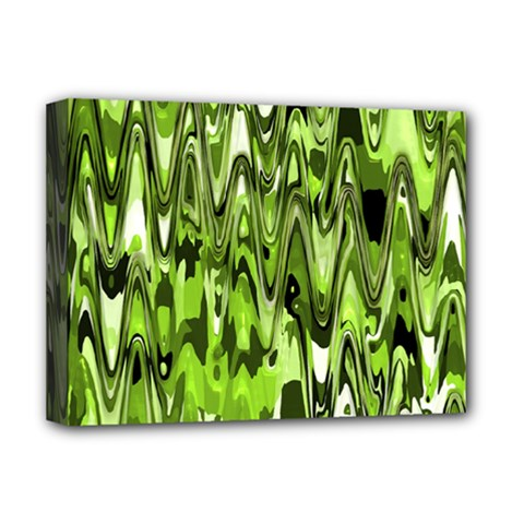 Funky Chevron Green Deluxe Canvas 16  X 12   by MoreColorsinLife