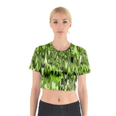 Funky Chevron Green Cotton Crop Top by MoreColorsinLife