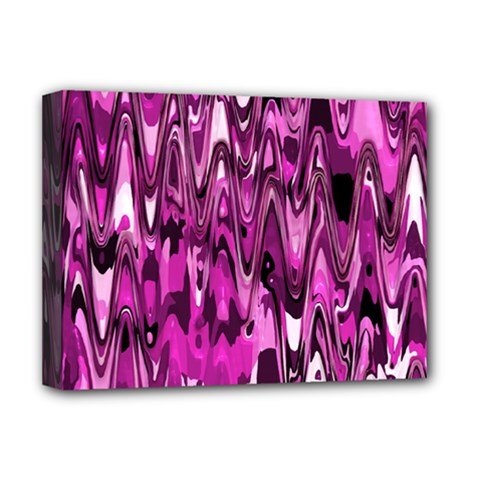 Funky Chevron Hot Pink Deluxe Canvas 16  X 12   by MoreColorsinLife